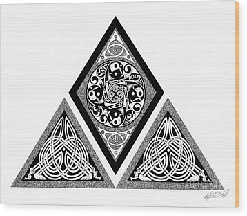Wood Print featuring the mixed media Celtic Pyramid by Kristen Fox