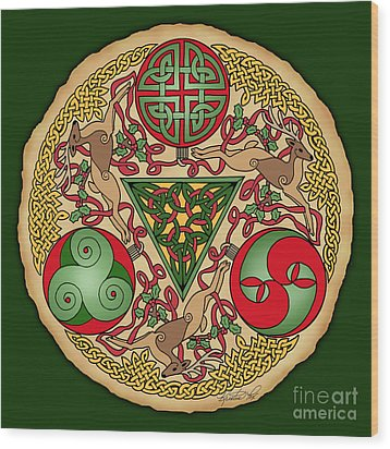 Wood Print featuring the mixed media Celtic Reindeer Shield by Kristen Fox