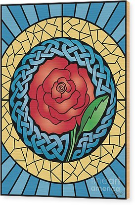 Wood Print featuring the mixed media Celtic Rose Stained Glass by Kristen Fox