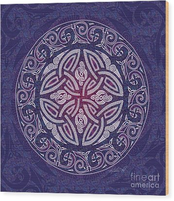 Wood Print featuring the mixed media Celtic Shield by Kristen Fox