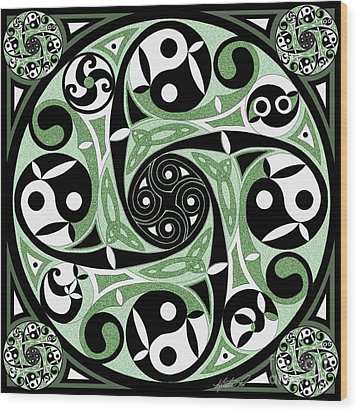 Wood Print featuring the mixed media Celtic Spiral Stepping Stone by Kristen Fox