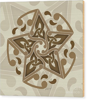 Wood Print featuring the mixed media Celtic Star by Kristen Fox