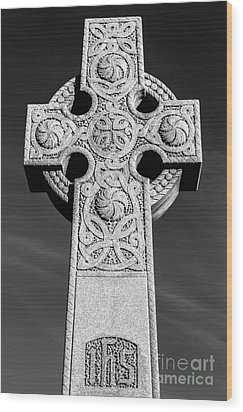Wood Print featuring the photograph Celtic Stone Cross At Sunset by Gary Whitton