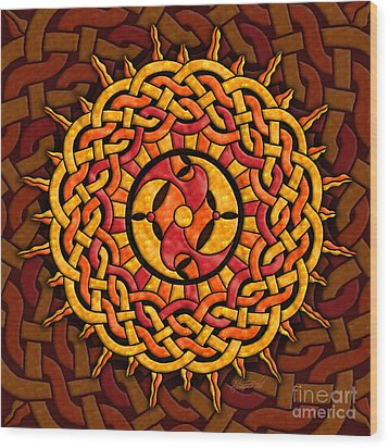Wood Print featuring the mixed media Celtic Sun by Kristen Fox