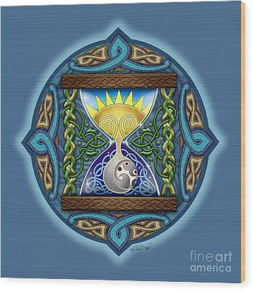 Wood Print featuring the mixed media Celtic Sun Moon Hourglass by Kristen Fox