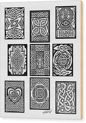Wood Print featuring the drawing Celtic Tarot Spread by Kristen Fox