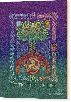 Wood Print featuring the mixed media Celtic Tree Of Life by Kristen Fox