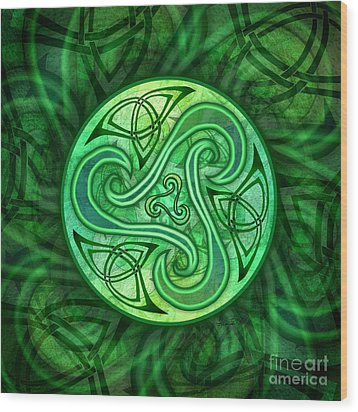 Wood Print featuring the mixed media Celtic Triskele by Kristen Fox