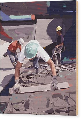 Cement And Rebar Wood Print by Brad Burns