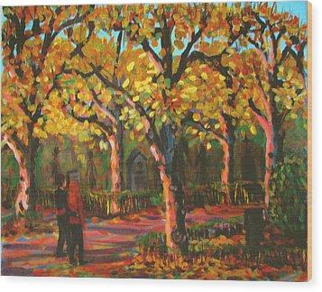 Cemetary In Autumn Wood Print by Art Nomad Sandra  Hansen
