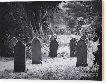 Cemetery And Snow Wood Print by Jane Rix