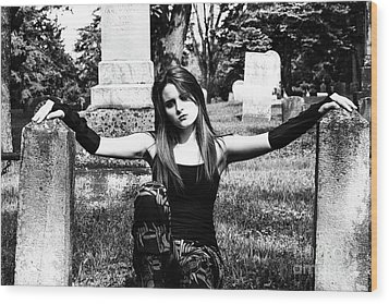 Cemetery Girl Wood Print