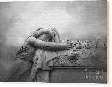 Wood Print featuring the photograph Cemetery Grave Mourner Black White Surreal Coffin Grave Art - Angel Mourner Across Rose Coffin by Kathy Fornal