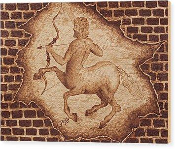 Wood Print featuring the painting Centaur Hunting Original Coffee Painting by Georgeta Blanaru