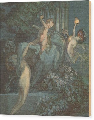Centaur Nymphs And Cupid Wood Print by Franz von Bayros