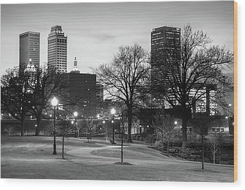 Wood Print featuring the photograph Centennial Park Black And White - Tulsa City Skyline by Gregory Ballos