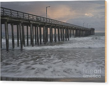 Central Coast Pier Wood Print by Ron Hoggard