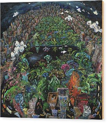 Central Park Wood Print by Antonio Ortiz