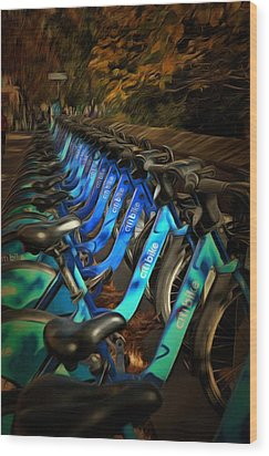 Wood Print featuring the mixed media Central Park Bikes by Trish Tritz