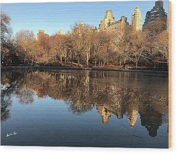Wood Print featuring the photograph Central Park City Reflections by Madeline Ellis