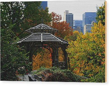 Central Park Gazebo Wood Print by Christopher Kirby
