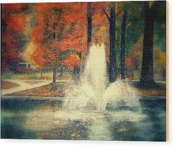 Central Park In Autumn Wood Print by Gail Kirtz