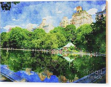 Central Park Wood Print by Julie Lueders