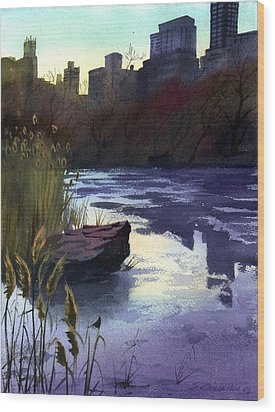 Central Park Lake Wood Print by Sergey Zhiboedov