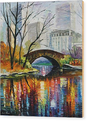 Central Park Wood Print by Leonid Afremov