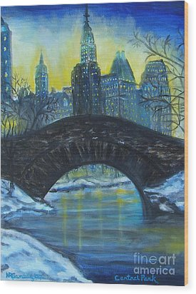 Central Park Wood Print by Nancy Rucker