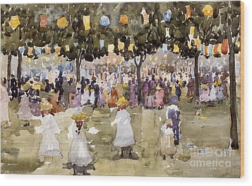 Central Park  New York City  July Fourth  Wood Print by Maurice Prendergast