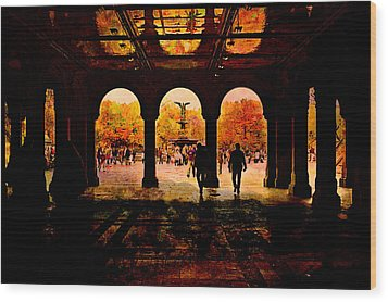 Central Park Nyc  Under The Bridge Wood Print by Jeff Burgess