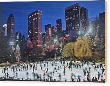 Central Park Skaters Wood Print by June Marie Sobrito