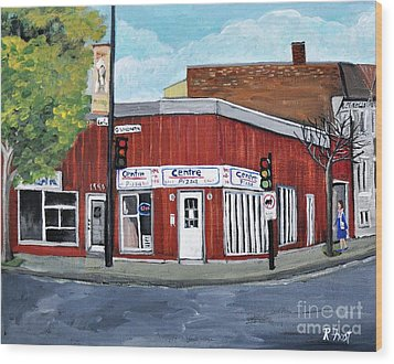 Centre Pizza Verdun Wood Print by Reb Frost