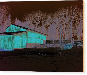 Century Farm Shed In Snow Watercolor Wood Print by Laurie With