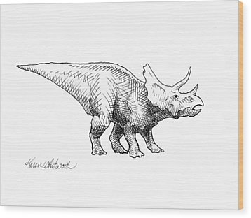 Wood Print featuring the drawing Cera The Triceratops - Dinosaur Ink Drawing by Karen Whitworth