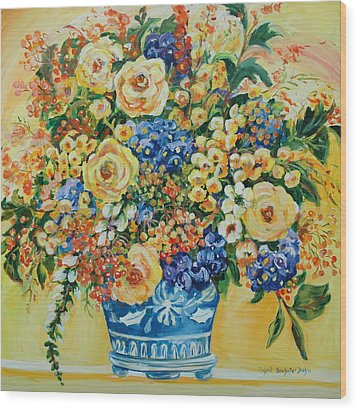 Ceramic Blue Wood Print by Alexandra Maria Ethlyn Cheshire