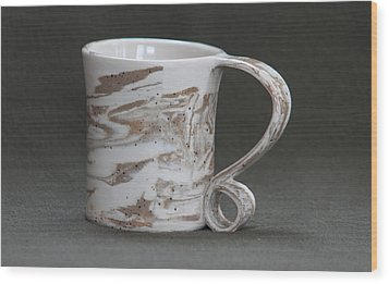 Ceramic Marbled Clay Cup Wood Print by Suzanne Gaff