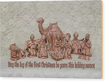 Ceramic Nativity Scene Wood Print by Linda Phelps