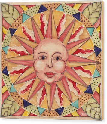 Ceramic Sun Wood Print by Anna Skaradzinska