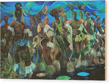 Ceremonial Dance Of The Mighty Zulus Wood Print by Lee Ransaw