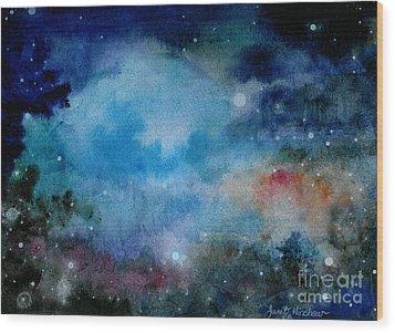 Cerulean Space Clouds Wood Print by Janet Hinshaw