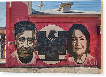 Wood Print featuring the photograph Cesar Chavez And Dolores Huerta Mural - Utah by Gary Whitton