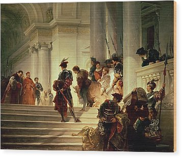 Cesare Borgia Leaving The Vatican Wood Print by Giuseppe Lorenzo Gatteri