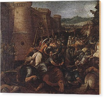 Cesari Giuseppe St Clare With The Scene Of The Siege Of Assisi Wood Print by Giuseppe Cesari