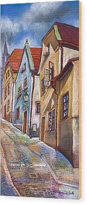 Cesky Krumlov Old Street 2 Wood Print by Yuriy  Shevchuk