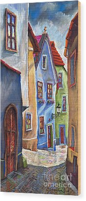 Cesky Krumlov Old Street Wood Print by Yuriy  Shevchuk