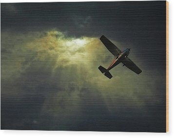 Cessna 172 Airplane Wood Print by photograph by Anastasiya Fursova