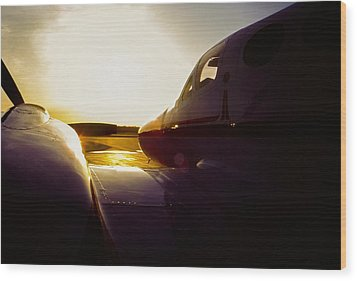 Cessna 421c Golden Eagle IIi Silhouette Wood Print by Greg Reed