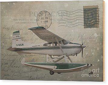 Cessna Skywagon 185 On Vintage Postcard Wood Print